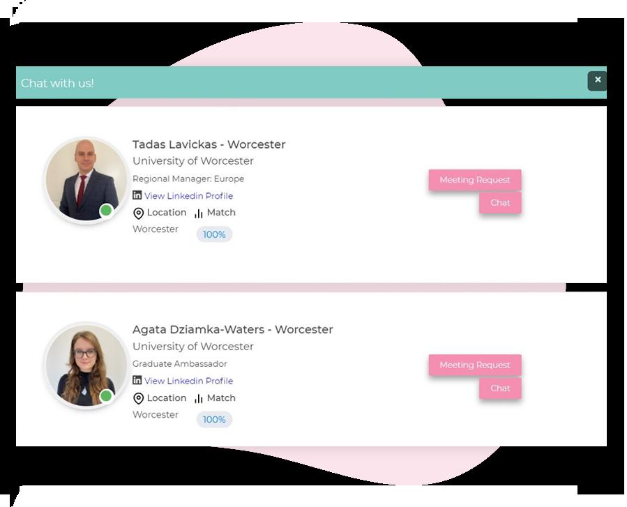 Virtual fair platform chat function